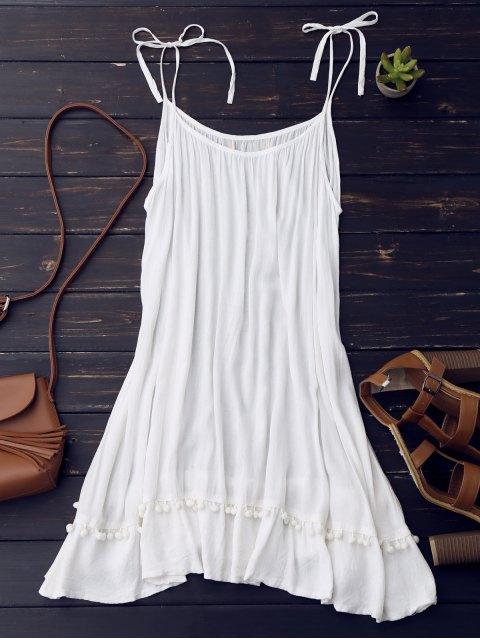 trendy Casual Lace Trim Slip Dress - WHITE L Mobile