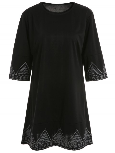 affordable Print Round Neck Mini Dress - BLACK M Mobile