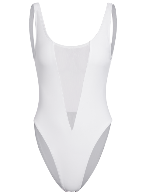 new High Cut See Through One Piece Swimmwear - WHITE XL Mobile