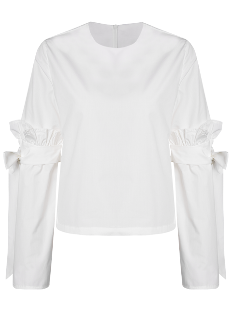 outfits Oversized Flare Sleeve Flounced Blouse - WHITE S Mobile