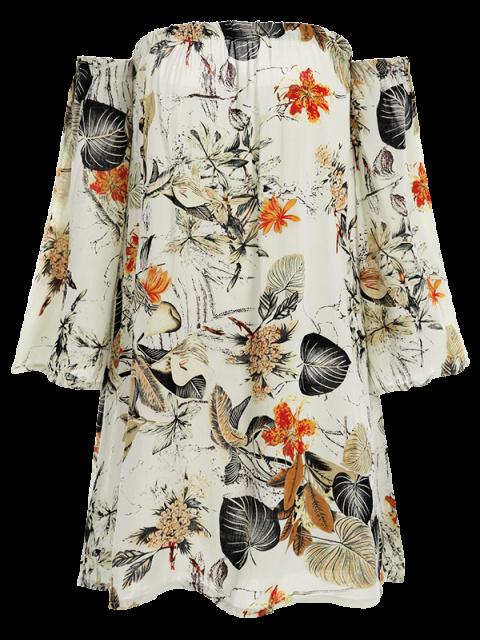 unique Off The Shoulder Vintage Printed Mini Dress - GRAY XL Mobile