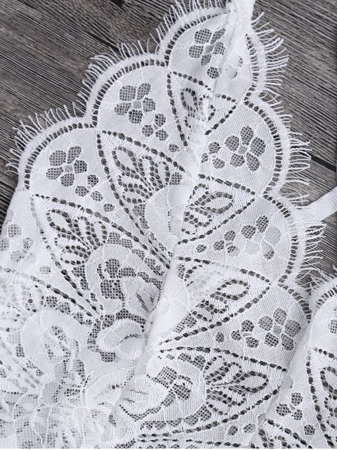 fancy Scaolloped Sheer Eyelash Lace Teddy Bodysuit - WHITE S Mobile