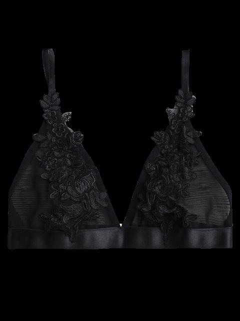 Applique à pli plissé Bralette Top - Noir XL Mobile