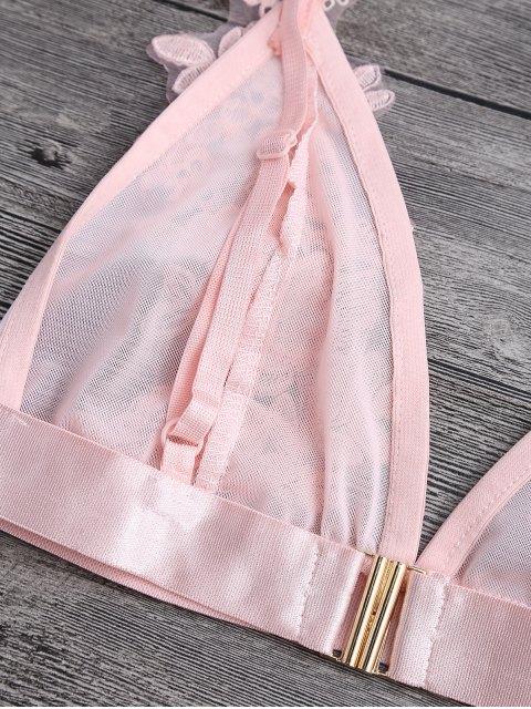 ladies Applique Sheer Mesh Plunge Bralette Top - PINK S Mobile