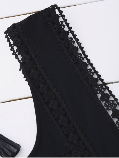trendy Ruffles Lace Trim Cropped Tank Top - BLACK S Mobile