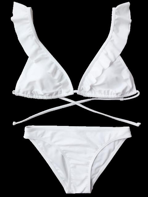 outfit Ruffles Back Tied Padded Bikini Set - WHITE S Mobile
