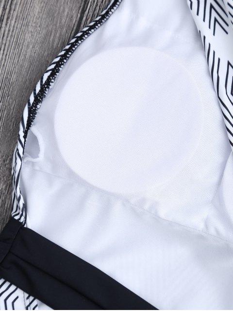 Self Tie Maillot de bain rayé à une épaule - Rayure L Mobile