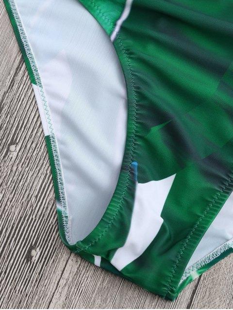 latest Cross Back Leaf Print Strappy Swimwear - GREEN L Mobile