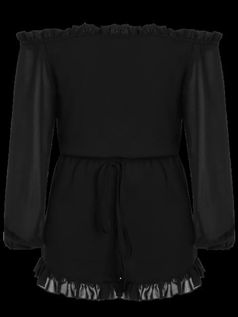 buy Solid Color Off The Shoulder Long Sleeve Romper - BLACK 3XL Mobile