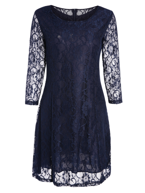 outfits Short Lace Dress With Sleeves - PURPLISH BLUE S Mobile