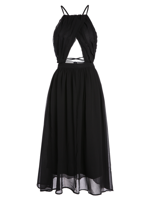 buy Lace-Up Backless Chiffon Party Dress - BLACK XL Mobile