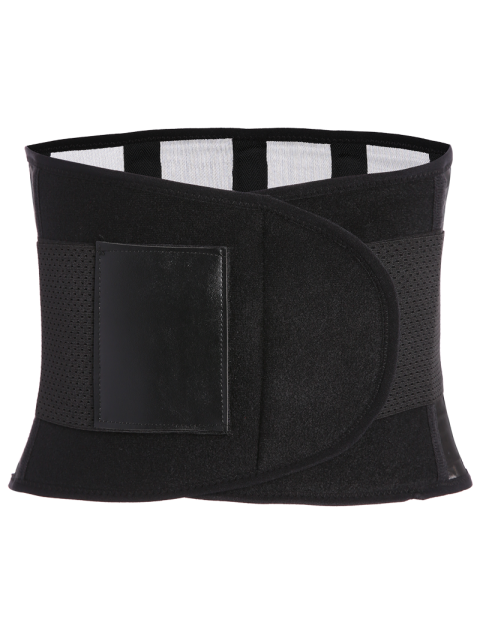 unique Hook and Loop Waist Trainer Corset - BLACK M Mobile