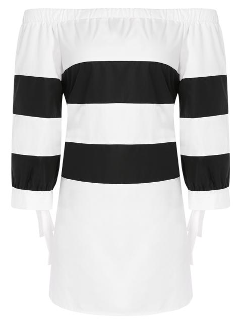 outfit High Low Striped Off Shoulder Dress - WHITE AND BLACK M Mobile