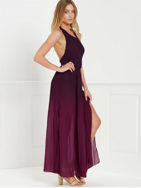 womens Halter Ombre Color High Slit Maxi Dress - RED S Mobile