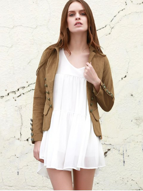 lady Lapel Structured Washed Blazer - LIGHT COFFEE L Mobile