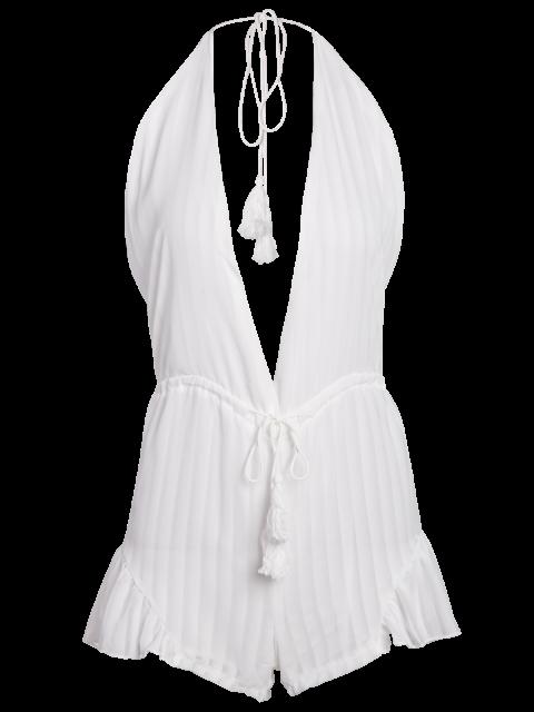 shop White Halter Backless Romper - WHITE XL Mobile