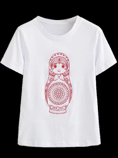 T-shirt brodé en coton mignon - Blanc S Mobile