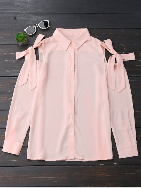 buy Button Up Knot Cold Shoulder Chiffon Blouse - PINKBEIGE L Mobile