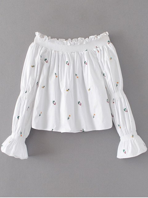 women's Ruffles Embroidered Off The Shoulder Blouse - WHITE S Mobile