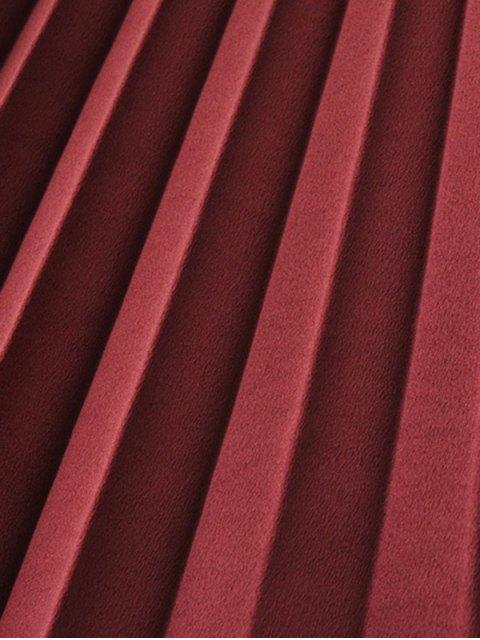 Jupe plissée à taille haute Midi - Rouge vineux  S Mobile