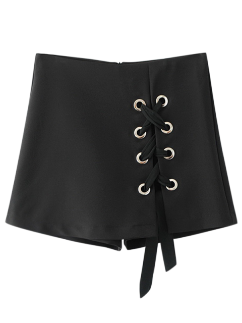 buy Culotte Lace Up Shorts - BLACK S Mobile