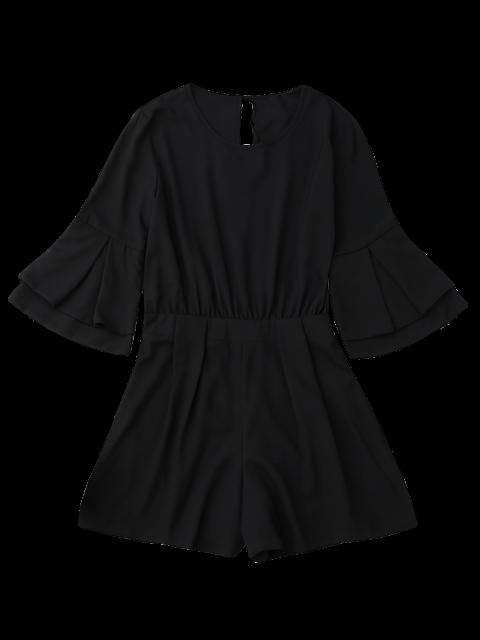 Split Back Flare Sleeve Romper - Noir L Mobile