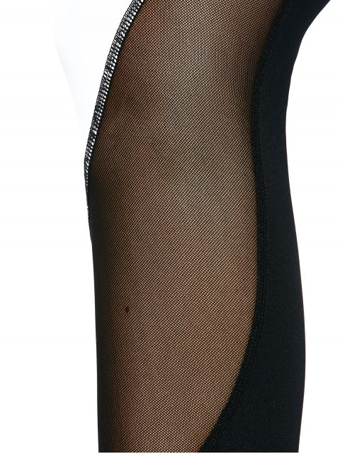 outfit Mesh Panel Color Block Sporty Leggings - WHITE AND BLACK XL Mobile