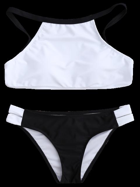 Ensemble de bikini bicolore col haut - Blanc et Noir L Mobile