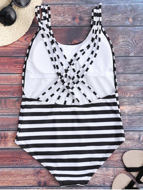 Strappy Open Back One Piece Swimsuit - Blanc et Noir S Mobile