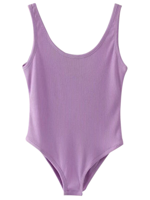 latest Skinny Ribbed Bodysuit - PURPLE ONE SIZE Mobile