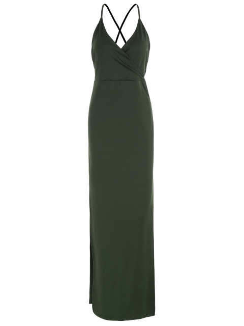 buy Backless High Split Surplice Maxi Club Dress - ARMY GREEN S Mobile