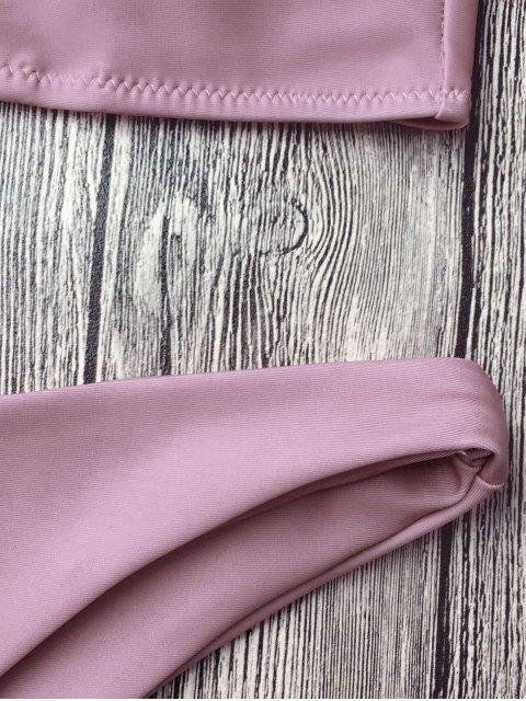 women Padded Spaghetti Straps Bikini Set - PINKISH PURPLE M Mobile