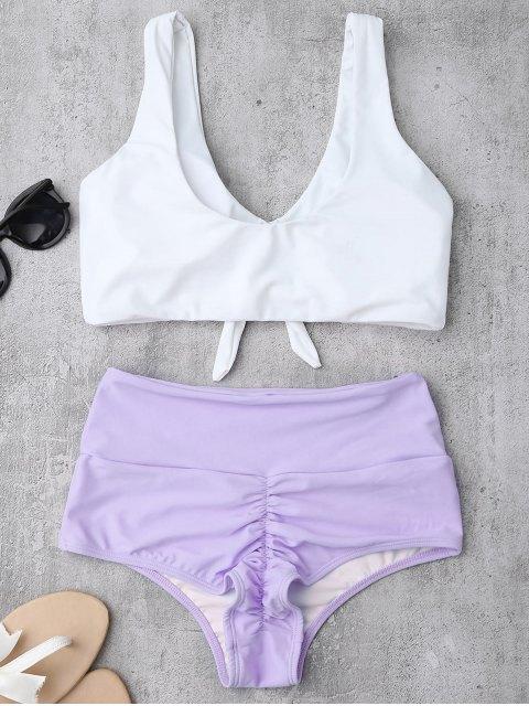 Bikinis blanc et bleu taille haute - Pourpre XL Mobile