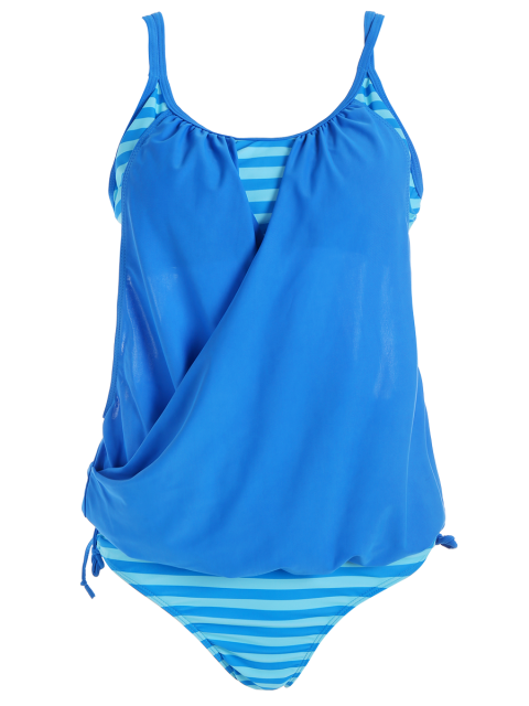 affordable Striped Spaghetti Strap Blouson Tankini Bathing Suits - BLUE 2XL Mobile