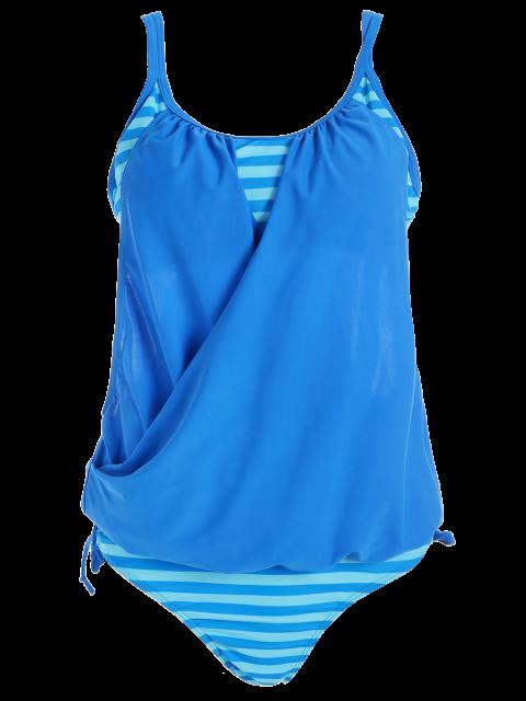 women Striped Spaghetti Strap Blouson Tankini Bathing Suits - BLUE M Mobile