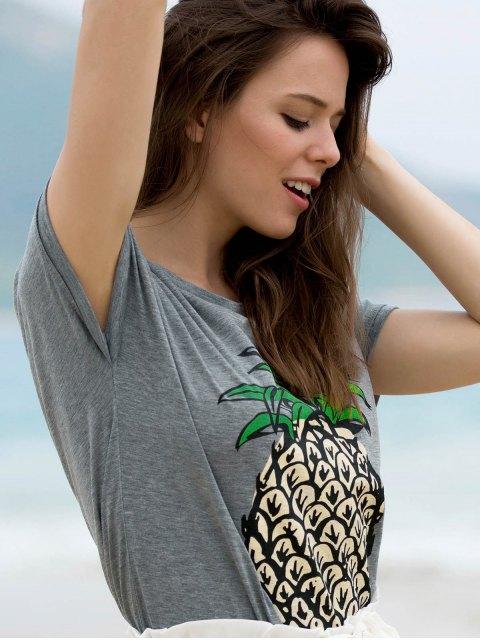 online Fruit Print Round Neck Short Sleeve T-Shirt - GRAY M Mobile
