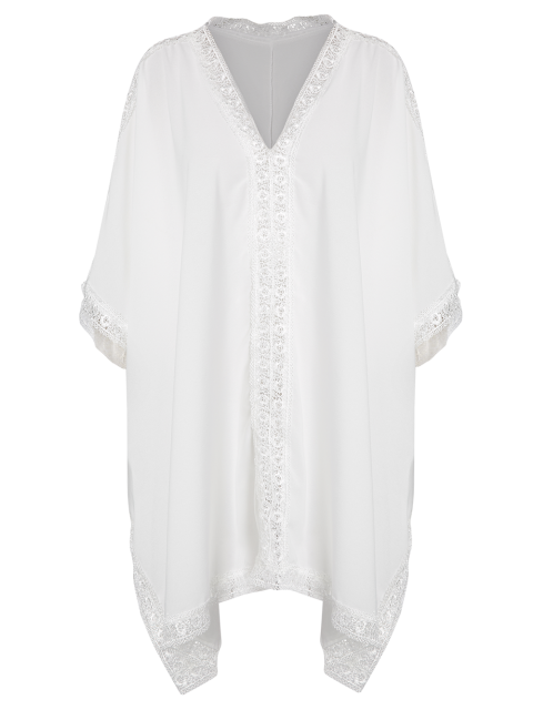 hot Solid Color Lace Border V Neck Bat-Wing Sleeve Dress - WHITE ONE SIZE(FIT SIZE XS TO M) Mobile