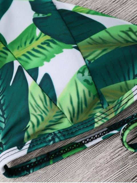 best Halter Leaf Print Tropical Bikini Set - GREEN M Mobile