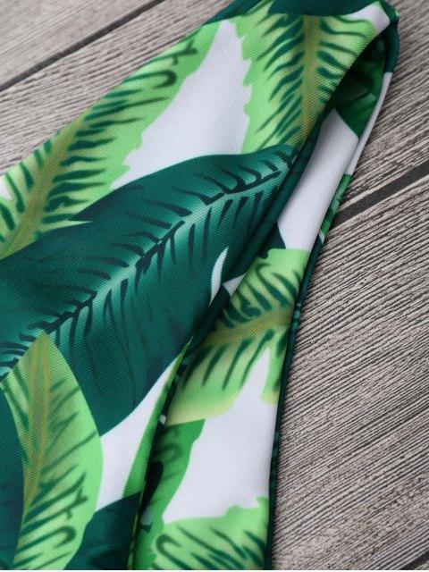 Halter Leaf Print Ensemble de bikini tropical - Vert S Mobile