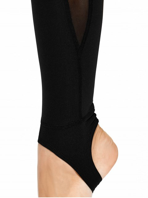 womens Mesh Panel Stirrup Yoga Leggings - BLACK L Mobile