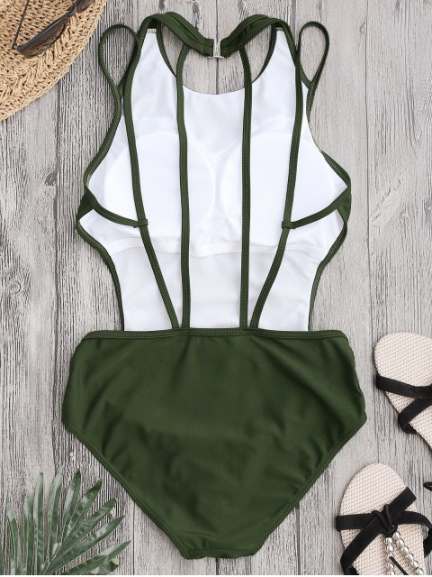 online Padded Back Strappy Swimwear - ARMY GREEN L Mobile