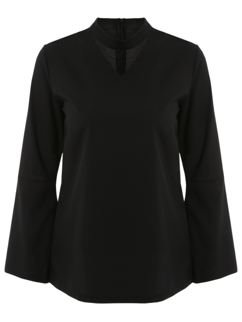 women Loose Choker Flare Sleeve Blouse - BLACK S Mobile