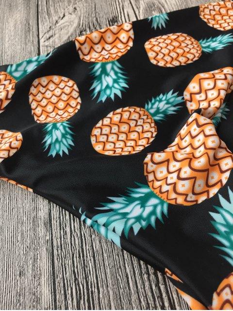 hot Halter Pineapple Print Wrap Bikini - BLACK L Mobile