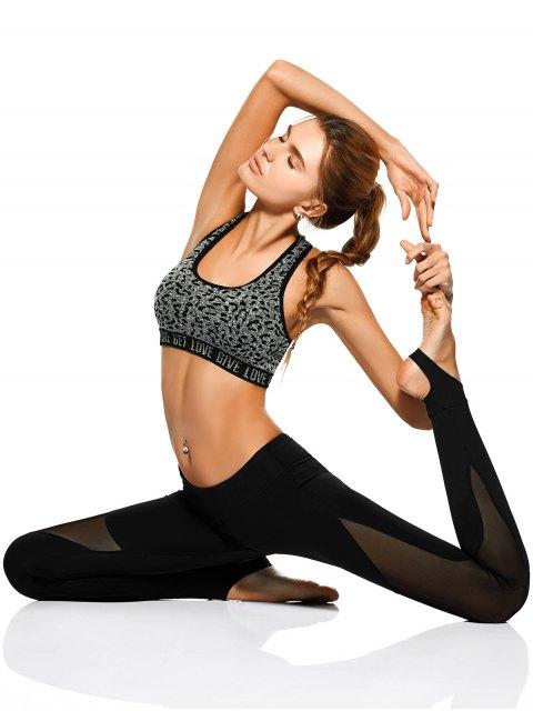 women Mesh Panel Stirrup Yoga Leggings - BLACK M Mobile