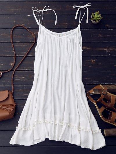 Casual Lace Trim Slip Dress - White