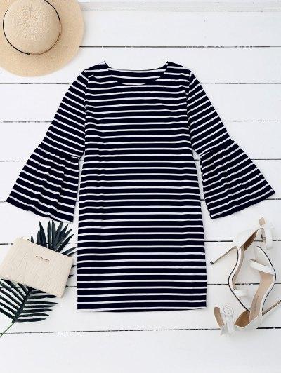 Flare Sleeve Striped Casual Dress - Stripe