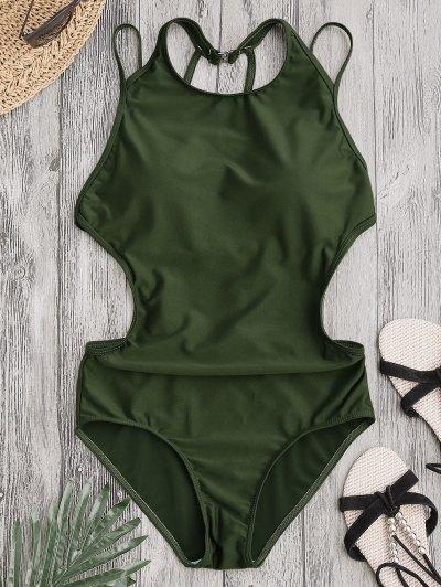Padded Back Strappy Swimwear - Army Green M