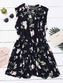 Keyhole Floral Tunic Dress - Black