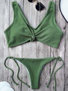 Bikini Bralette Con Cordones Con Nudos - Verde Del Ejército