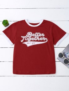 Graphic Ringer T-Shirt - Red S